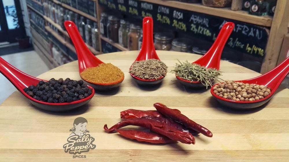 Especias para hacer SARDINAS MARINADAS Y ASADAS AL ESTILO SALLY PEPPER:Pimienta,Ras el hanout,Comino,Romero,Cilantro semillas y Guindilla.