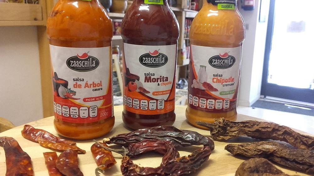 Sally Pepper-Spices-Tienda-de-especias-chiles-salsas picantes-en-Madrid-Salsas-Zaaschila-salsa chipotle cremosa-salsa morita-salsa de árbol-1000 x 562